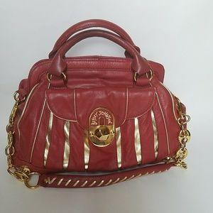 Betsey Johnson Red Leather Satchel Handbag